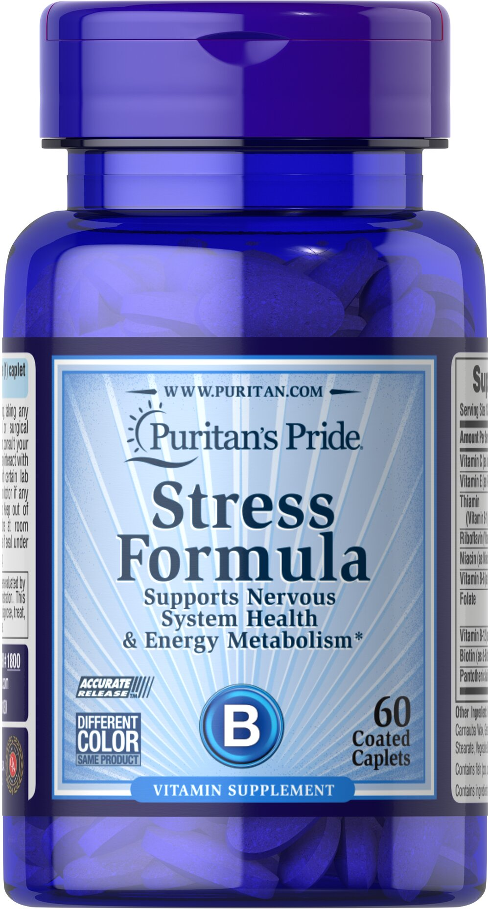 Stress Formula <p>Stress Formula promotes energy metabolism and nervous system health.** Our exclusive combination contains all eight B-Complex vitamins plus Vitamins C and E. The B Complex is made up of several vitamins that work well together to support nervous system health and energy metabolism.** Vitamins C and E promote antioxidant protection and immune system health.**</p>  <p>Compare and save!</p> 60 Caplets  $8.99