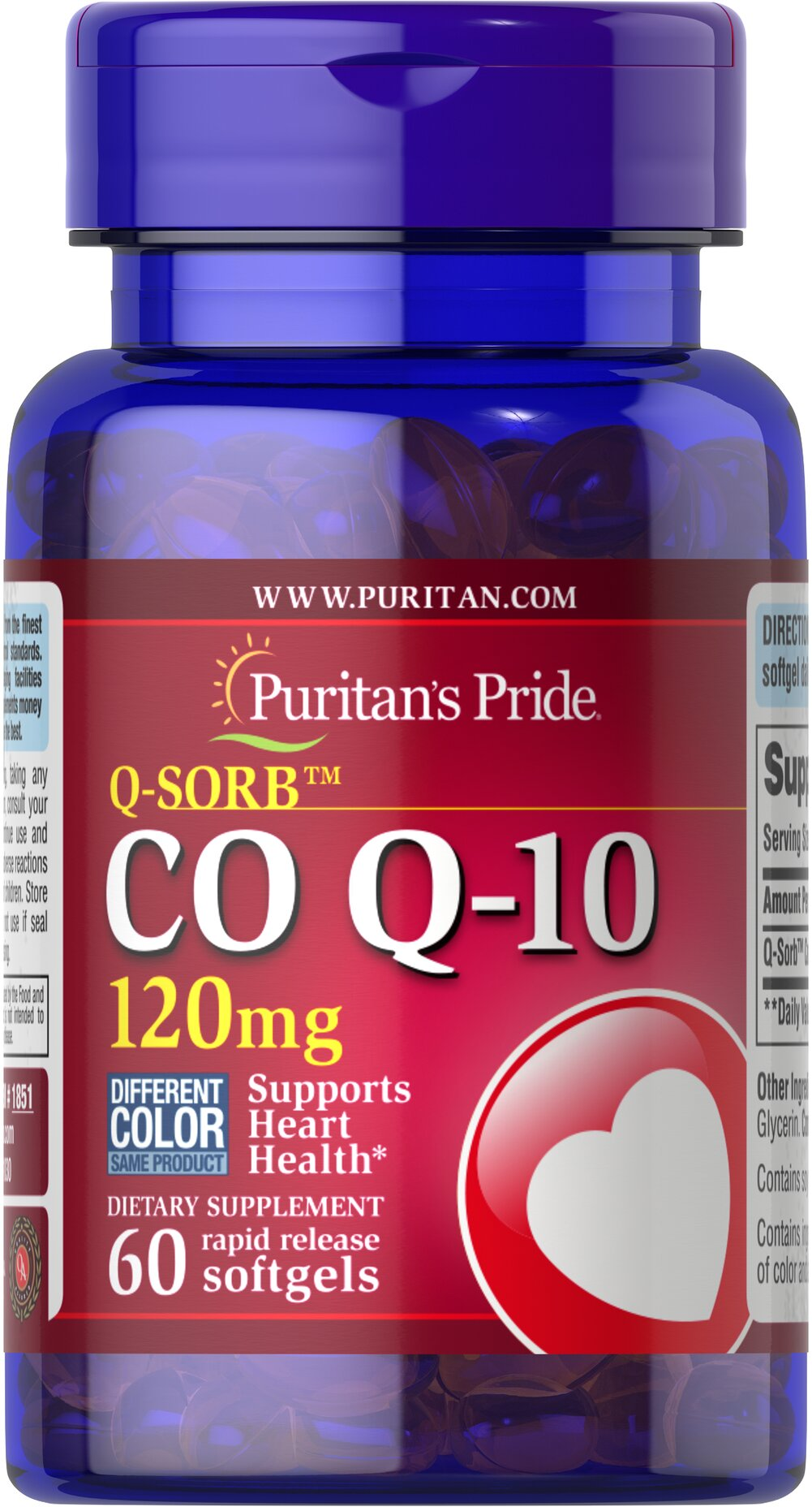 Co Q-10 120 mg <p>Puritan's Pride Q-Sorb™ Co Q-10 (coq10) provides antioxidant support for your heart and ensures potency and purity.**</p><p>Our Q-Sorb™ Co Q-10 is hermetically sealed in rapid release softgels to provide superior absorption</p><p>Contributes to your heart and cardiovascular wellness**</p><p>Helps support blood pressure levels already within a normal range**</p><p>Promotes energy production within your heart, brain, and muscl