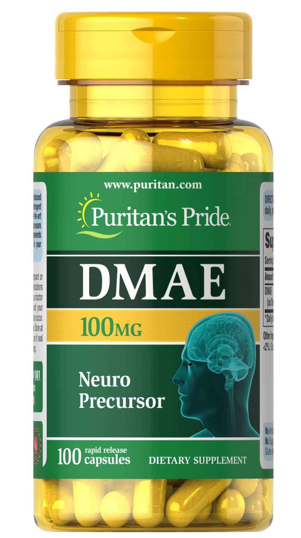 DMAE 100 mg <p>Often known as Dimethylaminoethanol, DMAE is a natural metabolite in the body. DMAE is related to the B factor choline and is a precursor to acetylcholine. Adults can take one capsule daily with a meal.</p> 100 Capsules 100 mg $12.99