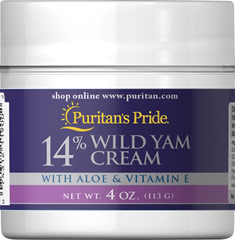 Wild Yam Cream <p>14% WILD YAM CREAM </p><p>with Aloe & Vitamin E </p><p>This rich moisturizing cream combines wild yam root extract with the benefits of vitamin E, aloe vera, safflower, and chamomile for a truly soothing experience.  Wild Yam Cream is often used by women experiencing midlife changes.</p> 4 oz Cream  $15.39