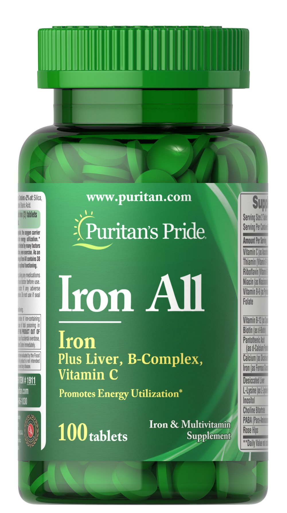 Iron All Iron <p>A Synergistic Iron Multi-Formula for Maximum Assimilation!</p><p>Contains 19 mg Iron with added B Vitamins, Vitamin C, Vitamin B-12</p> 100 Tablets  $7.99