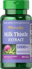 Milk Thistle 4:1 Extract 1000 mg (Silymarin) <p>The exceptional benefits of Milk Thistle are due to its powerful antioxidant properties, which help to optimize health and well being.**</p><p>Adults can take one softgel once or twice daily.</p><p>Puritan's Pride's Guarantee: We use only the finest quality herbs and spices. Each is screened and finely milled for quick release. </p> 90 Softgels 1000 mg $15.99