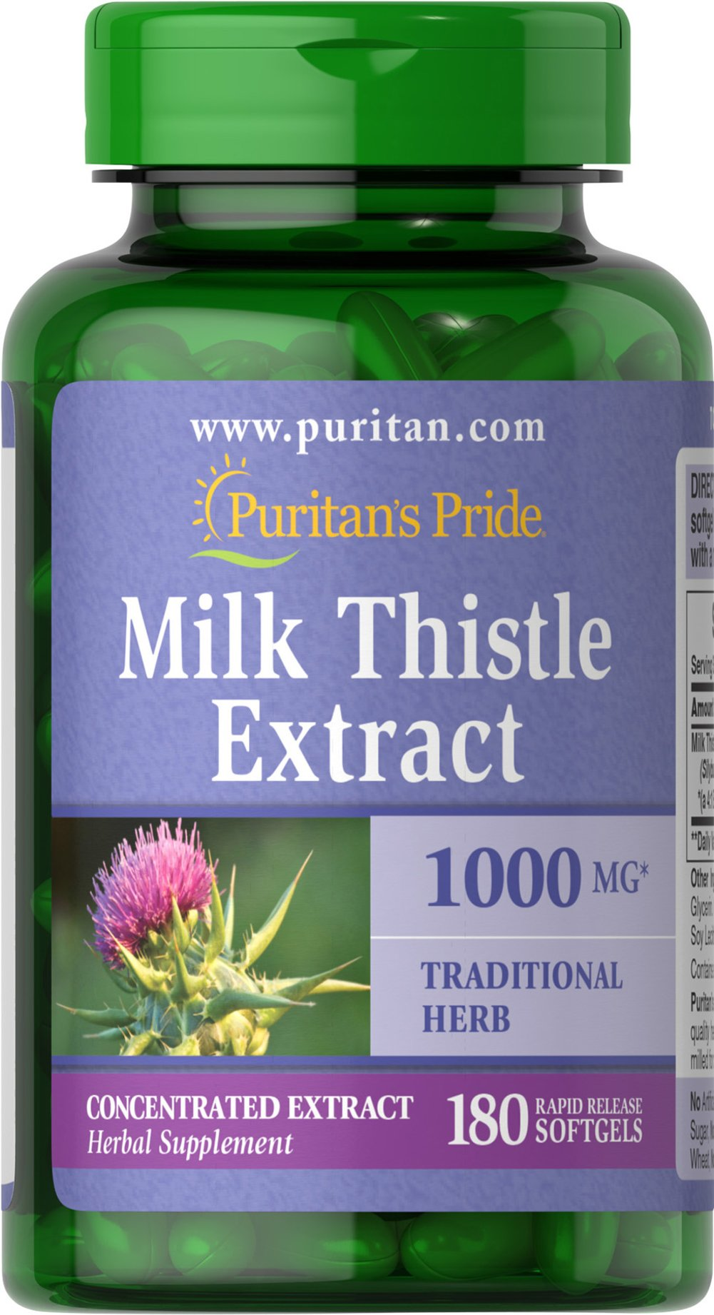 Milk Thistle 4:1 Extract 1000 mg (Silymarin) <p>The exceptional benefits of Milk Thistle are due to its powerful antioxidant properties, which help to optimize health and well being.**</p><p>Adults can take one softgel once or twice daily.</p><p>Puritan's Pride's Guarantee: We use only the finest quality herbs and spices. Each is screened and finely milled for quick release. </p> 180 Softgels 1000 mg $17.99