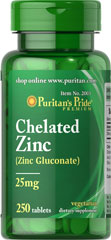 Zinc Chelate 25 mg <p>Zinc is an antioxidant that provides immune support and plays a role in over 300 enzymes in the body.** It assists in the formation of DNA, the cell's genetic material, and is essential for cell division and growth.**</p><p>Zinc offers additional benefits as it assists in the proper functioning of the hormone insulin.** Adults can take one tablet daily with a meal.</p> 250 Tablets 25 mg $10.99