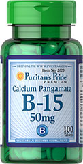 Vitamin B-15 Calcium Pangamate 50 mg <p>Puritan's Pride Calcium Pangamate is from natural sources and was originally known as B-15.</p> 100 Tablets 50 mg $8.99
