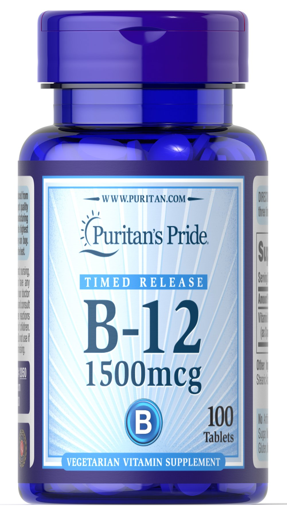Vitamin B-12 1500 mcg Timed Release <p>Being your best just got easier! As you may know, the B Vitamins play many important roles in the body, including energy metabolism.** Specifically, the vitamin known as B-12 helps maintain proper metabolic functioning and circulatory health, and contributes to the health of the nervous system.** It also aids in normal development and the regeneration of red blood cells.**</p> 100 Tablets 1500 mcg