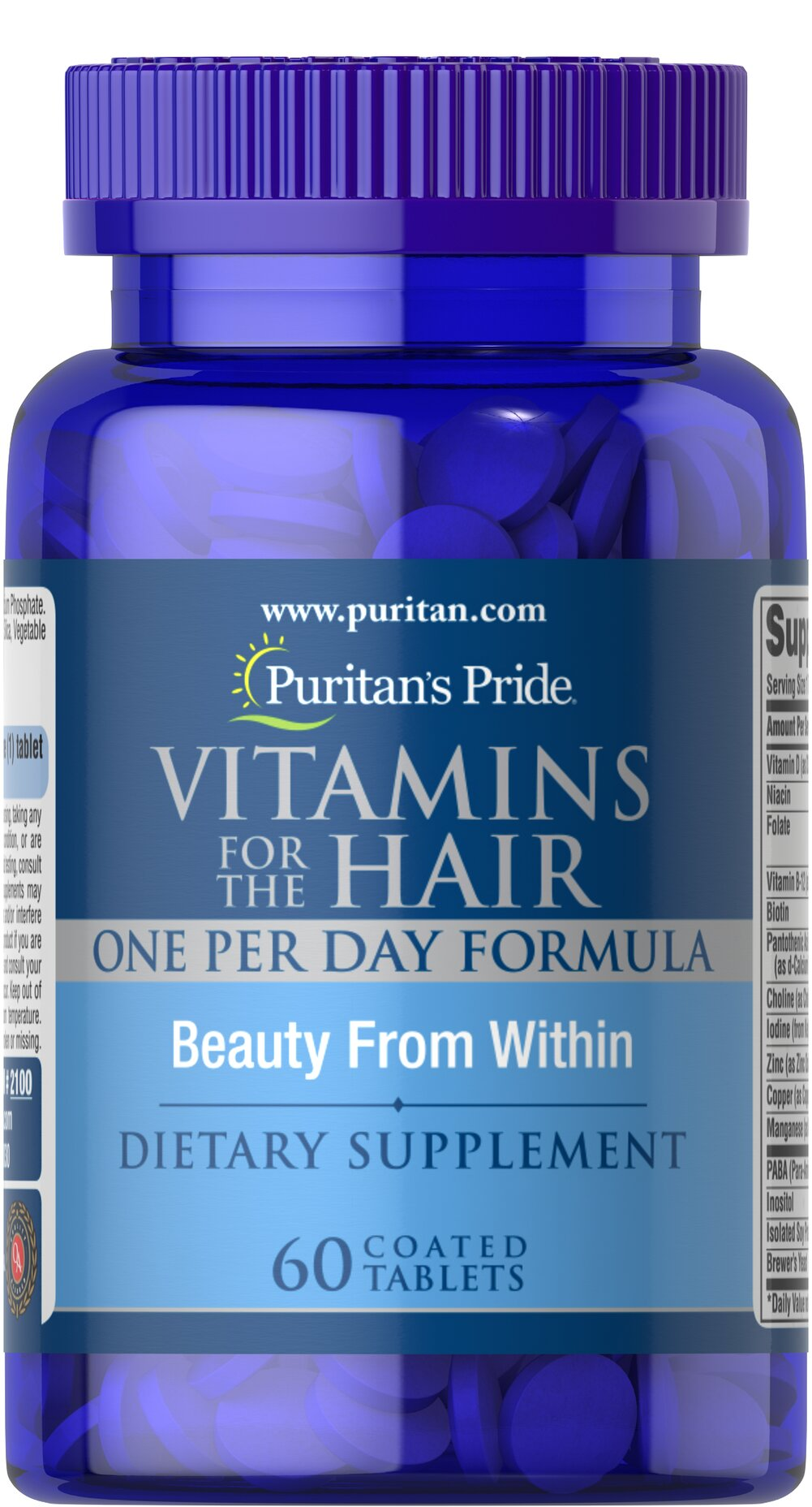 Vitamins for the Hair <p>A Natural Vitamin-Mineral Complex, especially Formulated for your Hair</p><p>Puritan's Pride has formulated Vitamins  for the Hair, to supplement your diet plan for a healthier looking head of hair.  Feed your hair the vitamins and minerals needed to help it be its healthiest.**</p> 60 Coated Caplets  $10.39