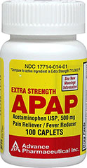 Acetaminophen 500 mg <p><b>From the Manufacturer's Label: </p></b><p>Available in 100 & 200 caplets.</p><p> Compare to active ingredient in Extra Strength Tylenol®</p> 100 Caplets 500 mg