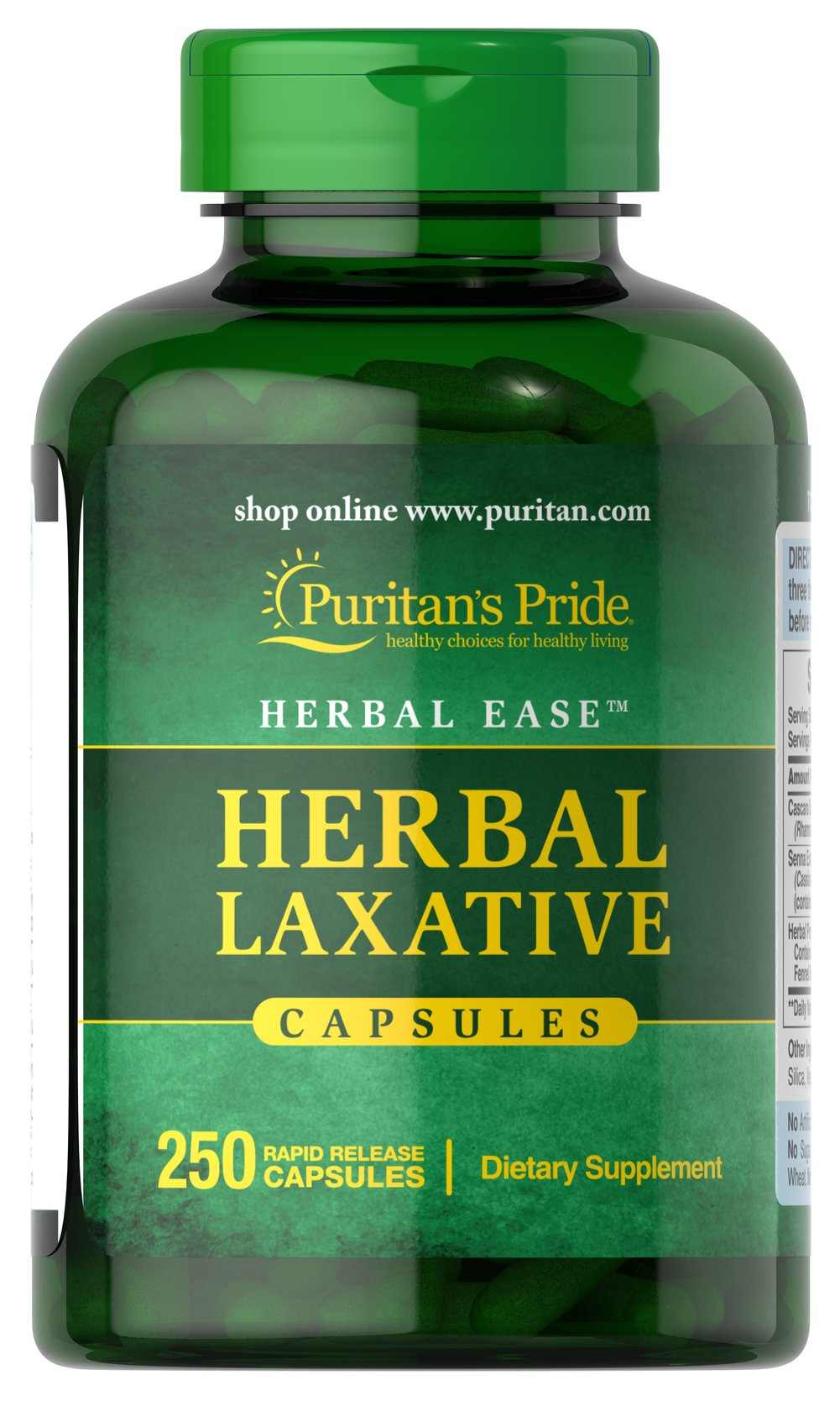 Herbal Laxative <p><b>Herbal Laxative</b> Capsules are an all-natural laxative designed to help with occasional constipation.** Our formula brings together the holistic properties of Cascara Sagrada and Senna, two popular herbals that help promote regularity.**</p><p>Herbal Laxative Capsules contain no harsh synthetics, to assure gentle, yet efficient, cleansing.**</p> <p>Also available in Tablets. See items #30329, 30330 and 30331.</p> 250 Capsule