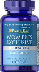 Women's Exclusive Formula <p>A special multivitamins formula to help keep you nutritionally fit.  Here's our exclusive, high potency formula made especially for a woman and her nutritional needs.  You get a synergistic blend of 12 important vitamins, 12 minerals, plus other nutrients in easier-to-swallow capsule-shaped tablets.</p> 120 Tablets  $23.99