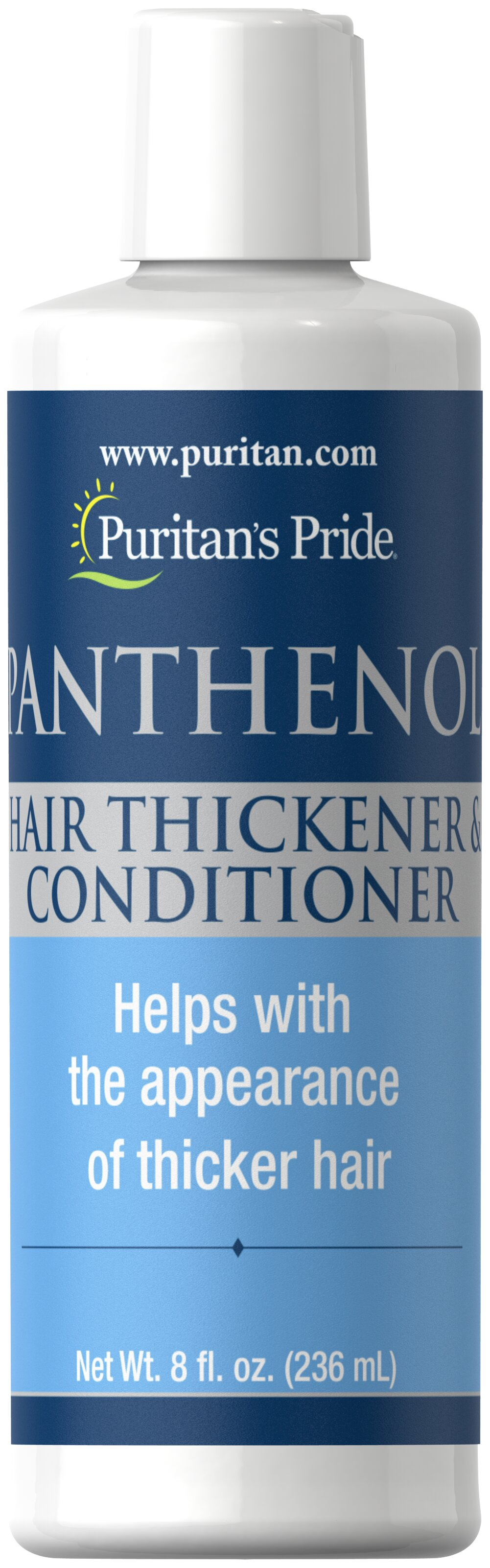 Panthenol Hair Thickener & Conditioner <p>Add New Body to Lifeless Hair</p><p>Pamper your hair with Puritan's Pride Hair Thickener & Conditioner. After continuous use, your hair will have more body, feel stronger, and look healthier. Panthenol revitalizes your hair as it penetrates each hair shaft, and can make a dramatic difference in the look and feel of your hair.</p> 8 fl oz Conditioner  $7.99