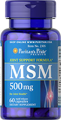 MSM 500 mg <p><b>Methylsulfonylmethane (MSM)</b> is a natural source of sulfur, one of the major building blocks of glycosaminoglycans.** Glycosaminoglycans are key structural components in cartilage and play an important role in the maintenance of joint cartilage. ** </p> 60 Capsules 500 mg $4.99