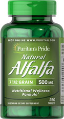 "Alfalfa 500 mg <p>Known as a ""green"" food that helps promote nutritional wellness, Alfalfa contains important phytochemicals, which may contain antioxidant capabilities.** Alfalfa has traditionally been used for joint and digestive health, and lately has become popular for supporting women's health, especially around the time of menopause.** Our Alfalfa tablets are vegetarian friendly.</p> 250 Tablets 500 mg $14.99"