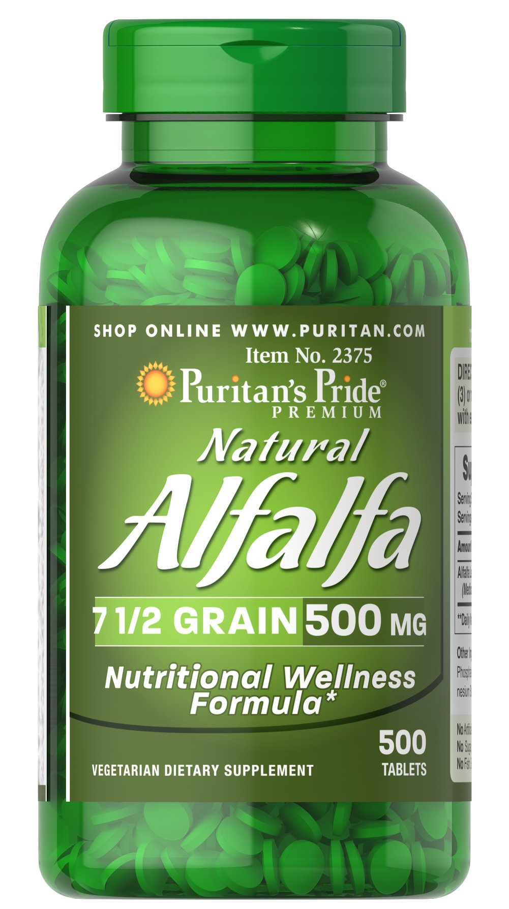 "Alfalfa 500 mg <p>Known as a ""green"" food that helps promote nutritional wellness, Alfalfa contains important phytochemicals, which may contain antioxidant capabilities.** Alfalfa has traditionally been used for joint and digestive health, and lately has become popular for supporting women's health, especially around the time of menopause.** Our Alfalfa tablets are vegetarian friendly.</p> 500 Tablets 500 mg $27.99"