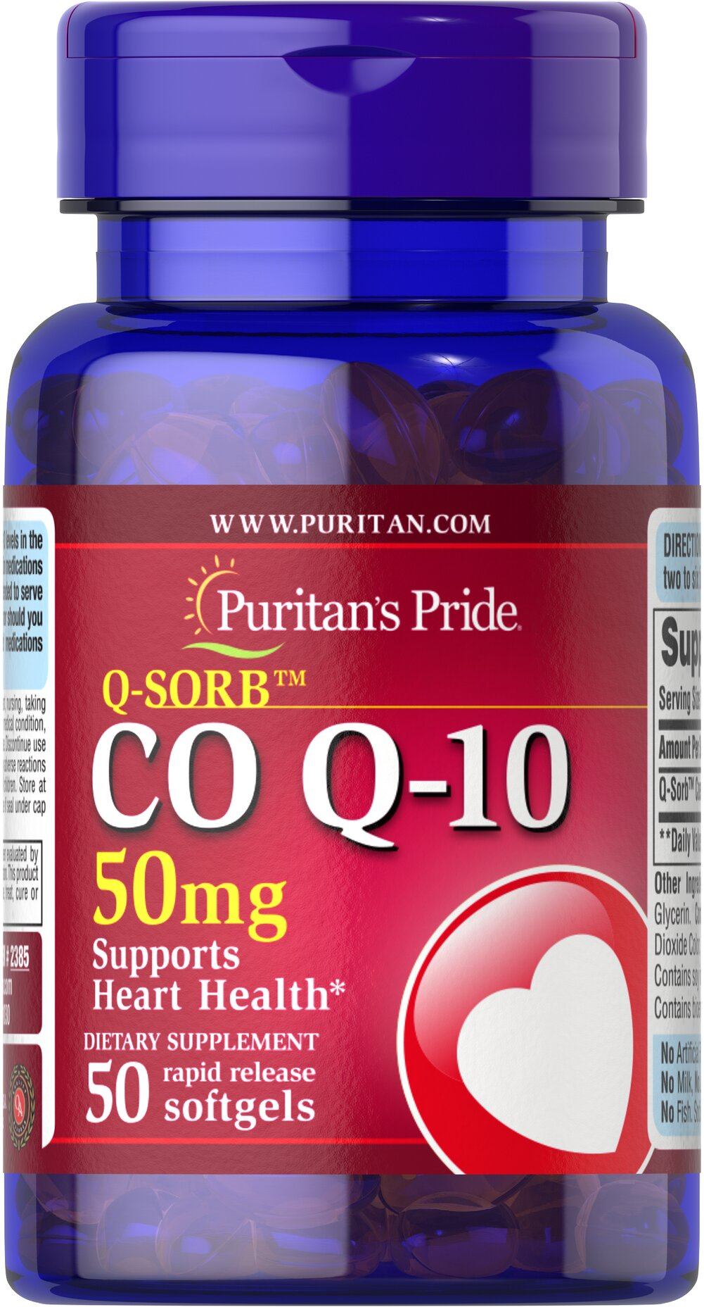 Q-SORB™ Co Q-10 50 mg <p>Puritan's Pride Q-Sorb™ Co Q-10 (coq10) provides antioxidant support for your heart and ensures potency and purity.**</p><p>Our Q-Sorb™ Co Q-10 is hermetically sealed in rapid release softgels to provide superior absorption</p><p>Contributes to your heart and cardiovascular wellness**</p><p>Helps support blood pressure levels already within a normal range**</p><p>Promotes energy production within your heart, brain, an