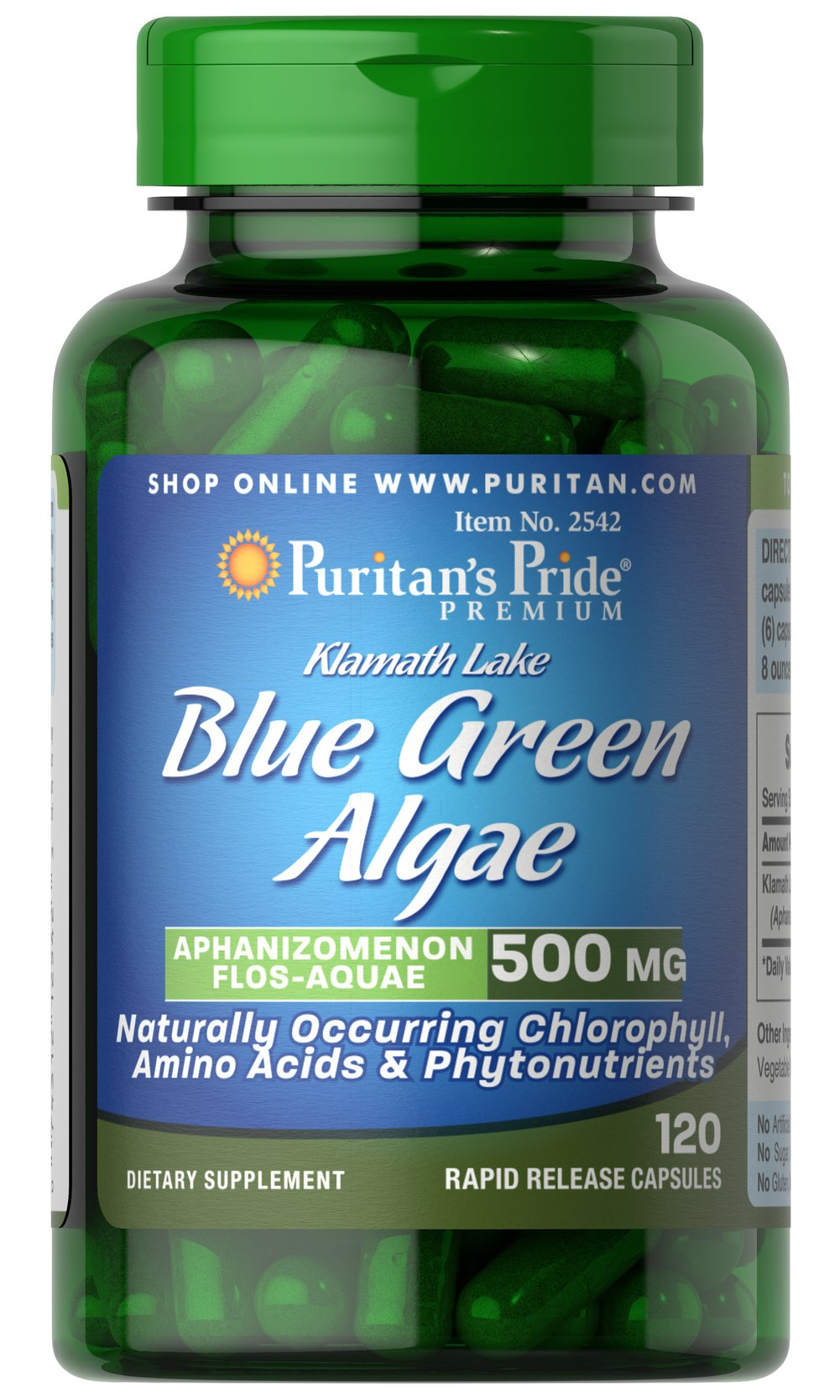 Klamath Lake Blue Green Algae 500 mg Klamath Lake Blue Green Algae grows naturally in the deep waters of Klamath Lake in Southern Oregon. It is one of only a few wildcrafted supplements available for consumption.  This extraordinary algae contains many phytonutrients, as well as chlorophyll, carotenoids, polyunsaturated fatty acids and the blue-green pigment called phycocyanin, which has been researched for its antioxidant and immune support properties.** 120 Capsules 500 mg $42.99