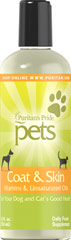 Coat & Skin for Pets <p>You can usually tell an animal's health by the condition of its coat and skin. Puritan's Pride Coat and Skin for Pets is a potent formula that can correct dry skin conditions, and promote a glowing coat and healthy skin. Coat and Skin provides vitamins A, D and E plus pure natural unsaturated oils essential to your pet. Give your dog the benefits of this carefully formulated health aid.</p> 12 fl oz. Liquid  $10.79