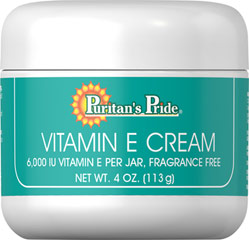Vitamin E Cream 6,000 IU  <p>Nourish Dry Skin</p>  <p>Fragrance Free</p>  <p>Contains 6000 IU of Vitamin E per Jar</p>  <p>This marvelous exclusive formula pampers you with a wealth of natural moisturizers and emollients... and leaves absolutely no oily film on the skin.</p> 4 oz Cream 6000 IU