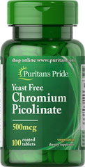 "Chromium Picolinate 500 mcg Yeast Free <p>As a trace mineral, Chromium is an essential nutrient that your body needs every day. The term ""trace"" means that Chromium is a mineral that's found in the body in very small amounts (less than 5 grams), which may make taking a Chromium supplement especially important. Our Chromium formulas are perfect for vegetarians, and are free of yeast.</p> 100 Tablets 500 mcg $5.99"