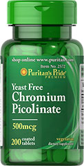 "Ultra Chromium Picolinate 500 mcg Yeast Free <p>As a trace mineral, Chromium is an essential nutrient that your body needs every day. The term ""trace"" means that Chromium is a mineral that's found in the body in very small amounts (less than 5 grams), which may make taking a Chromium supplement especially important. Our Chromium formulas are perfect for vegetarians, and are free of yeast.</p> 200 Tablets 500 mcg $11.99"