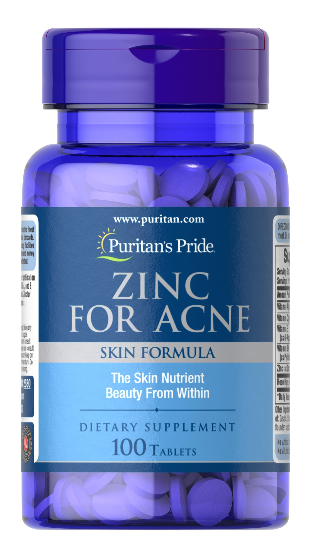 Zinc for Acne <p>Multivitamin with High Potency Zinc Supplement</p><p>Zinc for Acne tablets provide a combination of nutrients including zinc and Vitamins C, B-6, A, and E, specially blended for your skin. Zinc for Acne is designed to be taken as a supplement.</p> 100 Tablets  $12.29