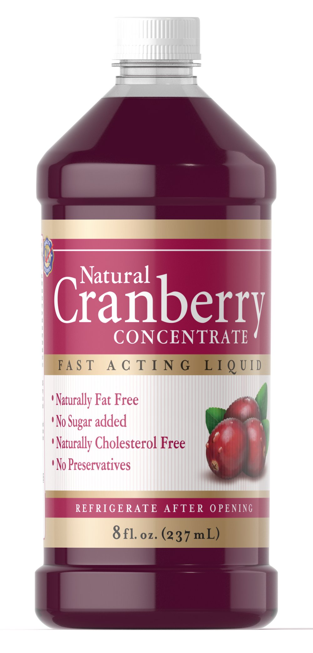 Natural Cranberry Concentrate <p>Our Natural Cranberry Concentrate Liquid is a liquid formula that is naturally free from fat, added sugar, cholesterol and preservatives.  Cranberry Concentrate Liquid gives you 100% natural cranberry concentrate without unnecessary additives or a cocktail taste.  In addition, there's the extra nutritional benefit of proanthocyanidins (condensed tannins) which have been identified in the cranberry fruit.</p>  8 oz Liquid  $18.49