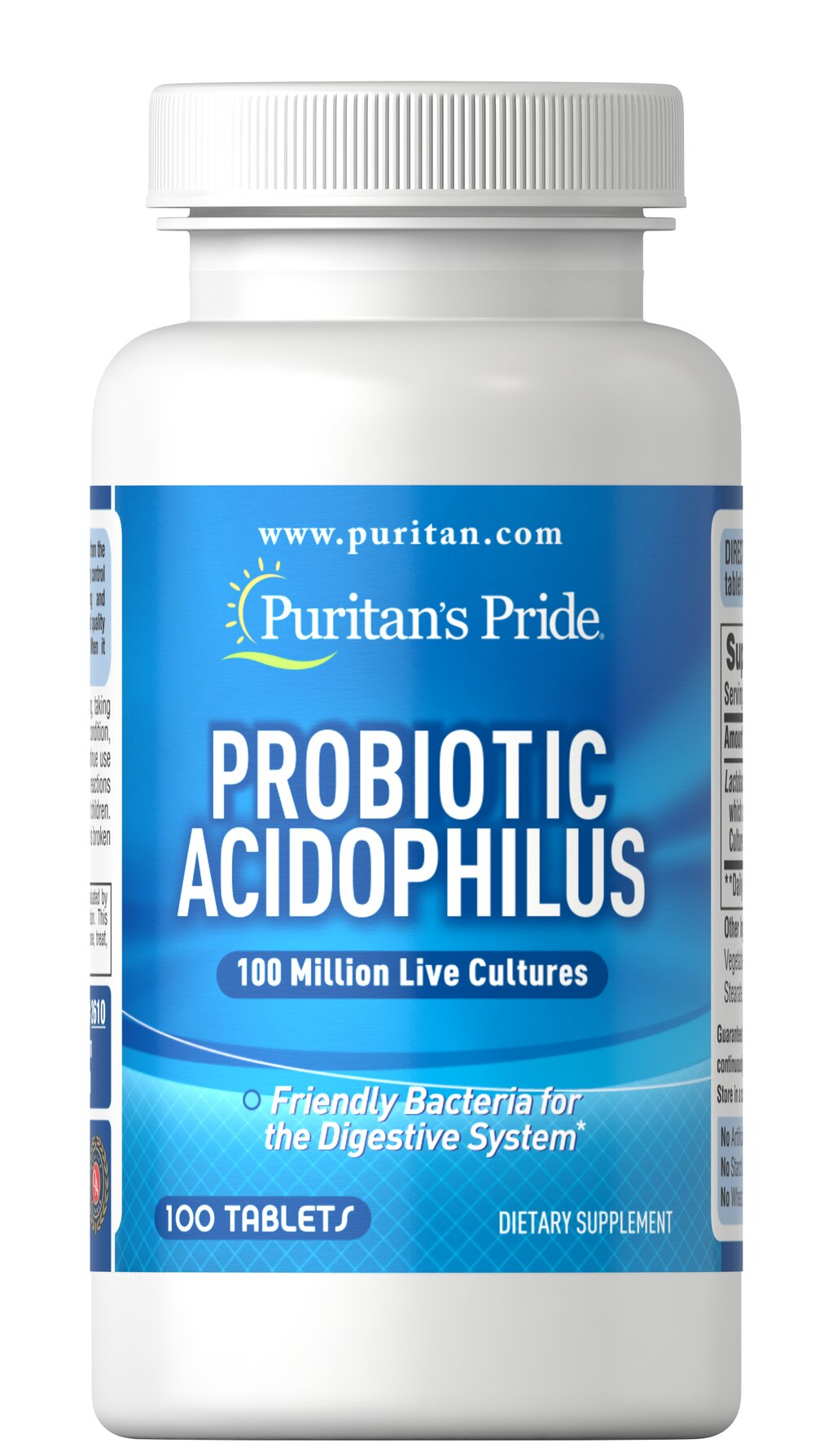 Probiotic Acidophilus <p>Acidophilus is a friendly bacteria naturally found in the intestinal tract.** More than 400 species of bacteria, also called normal flora, live in the adult human GI tract.  Our Probiotic Acidophilus contains over 100 million active Lactobacillus Acidophilus (including the naturally occurring metabolic product produced by Lactobacilli) at the time of manufacture. Adults can take one (1) capsule daily, preferably with a meal.<br /></p> 100 Capsu