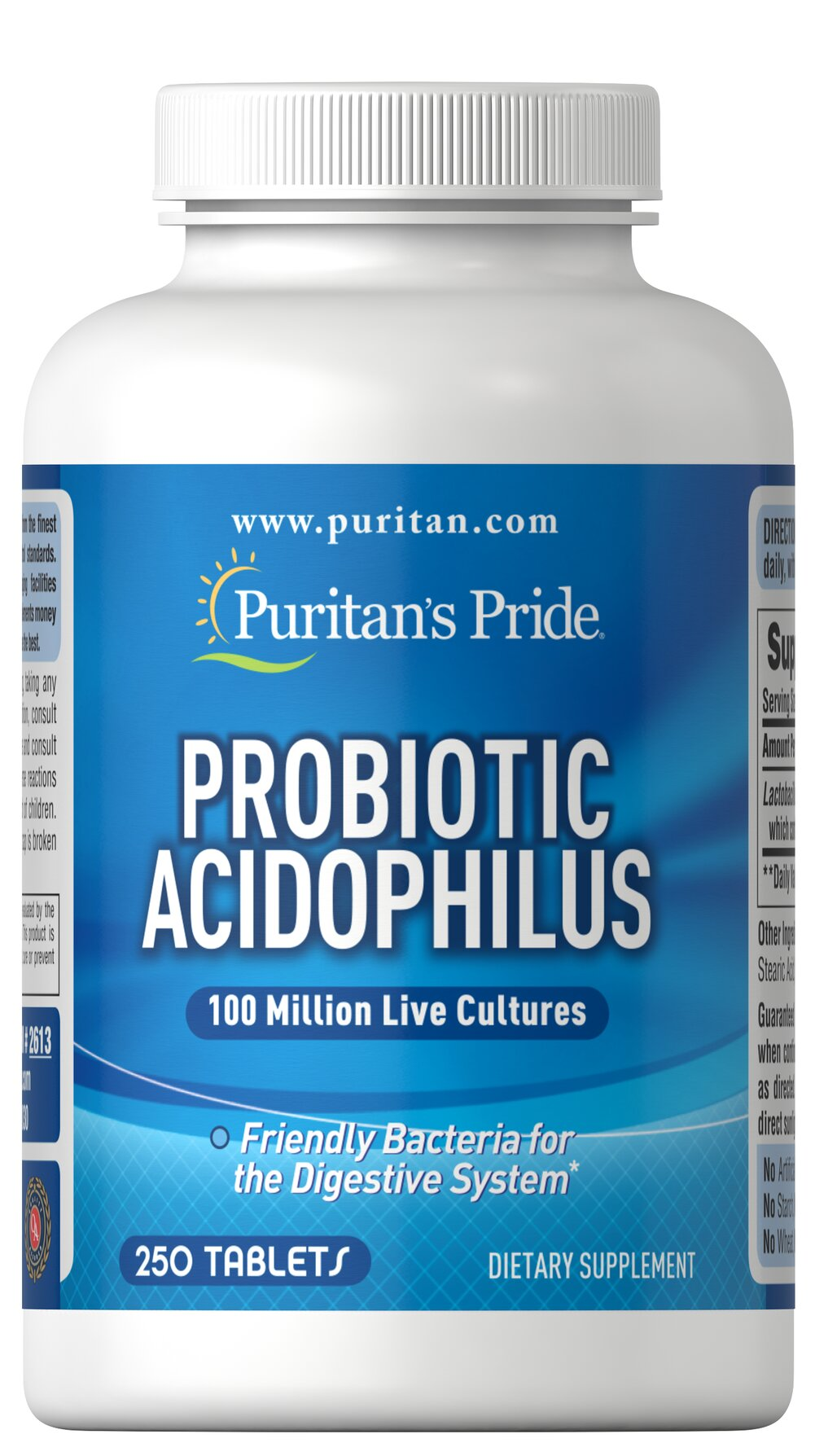 Probiotic Acidophilus <p>Acidophilus is a friendly bacteria naturally found in the intestinal tract.** More than 400 species of bacteria, also called normal flora, live in the adult human GI tract.  Our Probiotic Acidophilus contains over 100 million active Lactobacillus Acidophilus (including the naturally occurring metabolic product produced by Lactobacilli) at the time of manufacture. Adults can take one (1) capsule daily, preferably with a meal.</p> 250 Capsules  $18.99