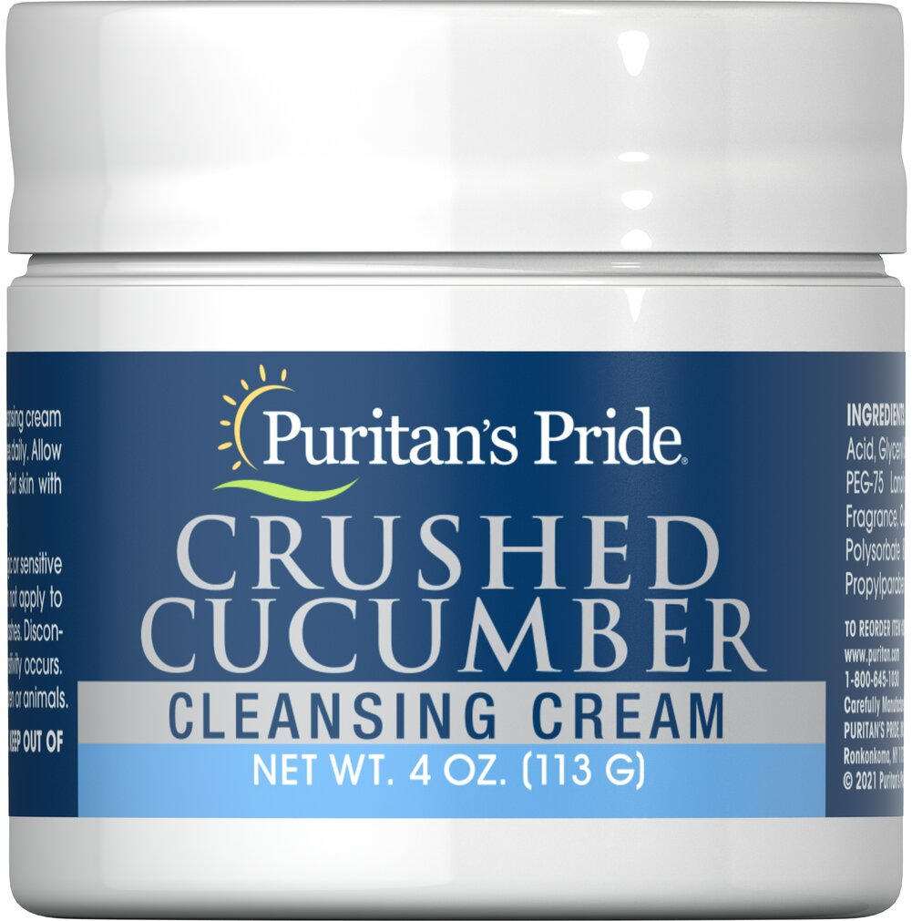 Crushed Cucumber Cleansing Cream <p>Refresh your complexion with Crushed Cucumber Cleansing Cream. Puritan's Pride has formulated this special blend of crushed cucumber, oils and emollients. This luxurious cleanser will work deep into the pores to cleanse and refresh your skin. Your skin will look radiant and feel satiny smooth to the touch.</p> 4 oz Cream  $6.99