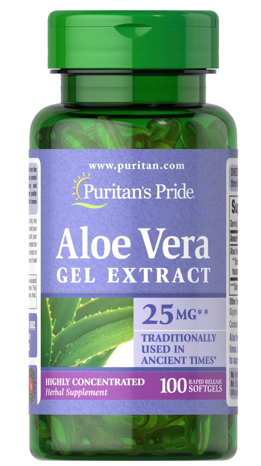 Aloe Vera Extract 25 mg <p>Serves as an aid for healthy digestion**</p><p>Plays a role in the well-being of the body**</p><p>Convenience of capsules, softgels and liquids is unsurpassed</p><p>Has been used and trusted for centuries. **</p><p>Aloe Vera contains a vast array of vitamins, minerals, amino acids, polysaccharides and phenolic compounds, and has been shown to support a healthy digestive system.**</p> 100 Softgels 25 mg $10.49