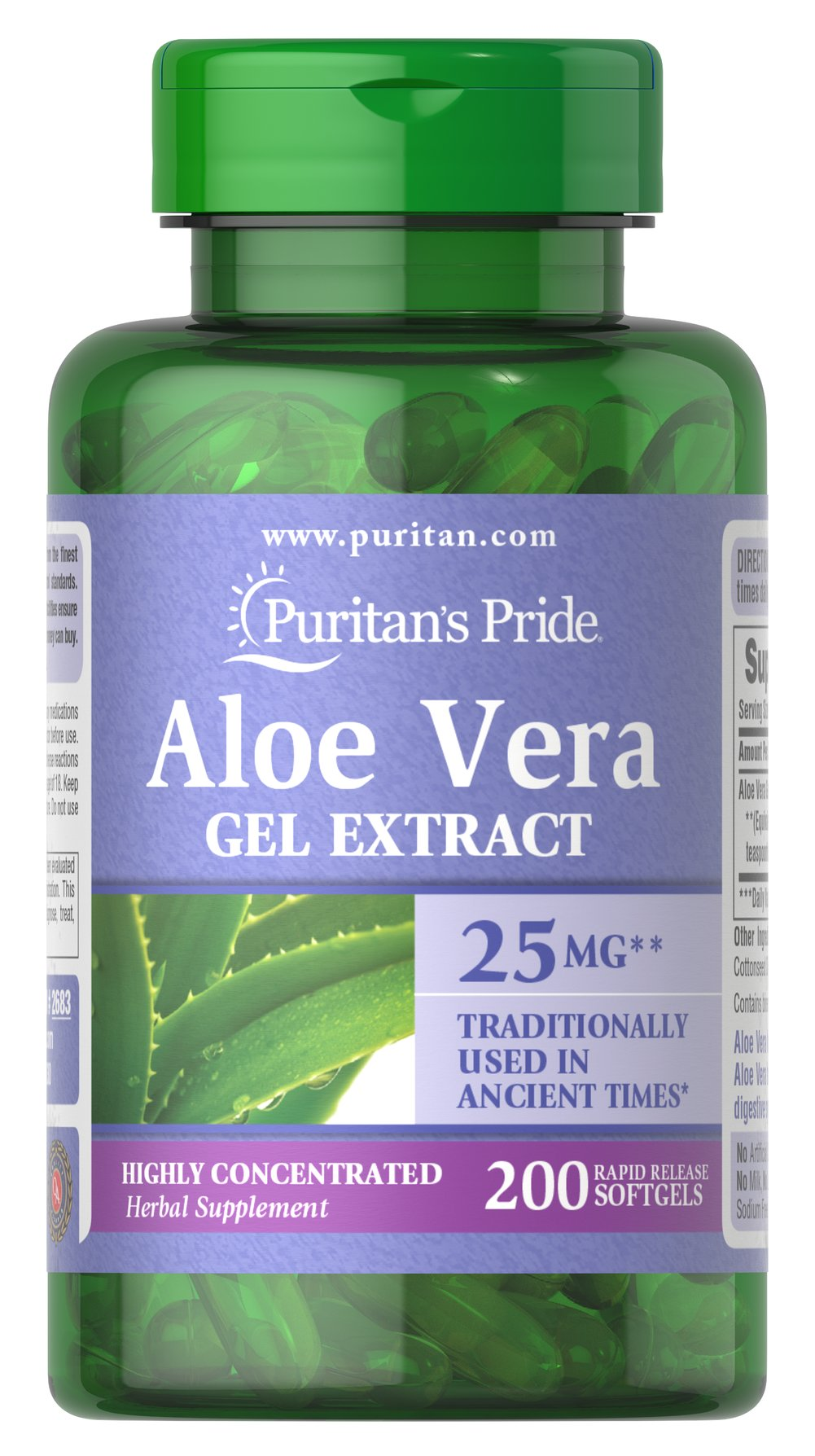 Aloe Vera Extract 25 mg <p>Serves as an aid for healthy digestion**</p><p>Plays a role in the well-being of the body**</p><p>Convenience of capsules, softgels and liquids is unsurpassed</p><p>Has been used and trusted for centuries. **</p><p>Aloe Vera contains a vast array of vitamins, minerals, amino acids, polysaccharides and phenolic compounds, and has been shown to support a healthy digestive system.**</p> 200 Softgels 25 mg $18.99