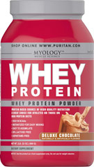 Whey Protein Deluxe Chocolate <p>You can drink Myology Whey Protein any time during the day to add extra high quality protein to your daily calorie intake. Our formula is easy to assimilate; it's 94% lactose free, and aspartame free. Plus, it's only 100 calories per scoop! Whey protein mixes fast into a tasty drink using water, juice or milk, and you can take it anywhere.</p><p>Myology Whey Protein in Deluxe Chocolate contains 18 grams of protein per serving.</p>&