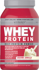 Whey Protein Creamy Vanilla <p>You can drink Myology Whey Protein any time during the day to add extra high quality protein to your daily calorie intake. Our formula is easy to assimilate; it's 94% lactose free, and aspartame free. Plus, it's only 100 calories per scoop! Whey protein mixes fast into a tasty drink using water, juice or milk, and you can take it anywhere.</p><p>Convenient powder is available in three flavors: Creamy Vanilla, Deluxe Chocolate and Wild Stra