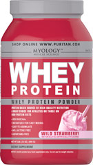 Whey Protein Powder Wild Strawberry <p>You can drink Myology Whey Protein any time during the day to add extra high quality protein to your daily calorie intake. Our formula is easy to assimilate; it's 94% lactose free, and aspartame free. Plus, it's only 100 calories per scoop! Whey protein mixes fast into a tasty drink using water, juice or milk, and you can take it anywhere.</p><p>Convenient powder is available in three flavors: Creamy Vanilla, Deluxe Chocolate and W