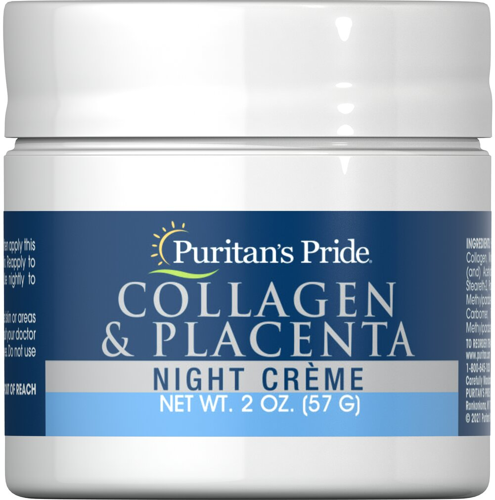 Natural Collagen and Placenta Night Creme <p>This formula contains special natural ingredients. Use Collagen and Placenta Night Cream on your face and neck area, as well as those delicate areas like eyelids and under the eyes. Use nightly to provide rich moisture balance.</p> 2 oz Cream  $4.99