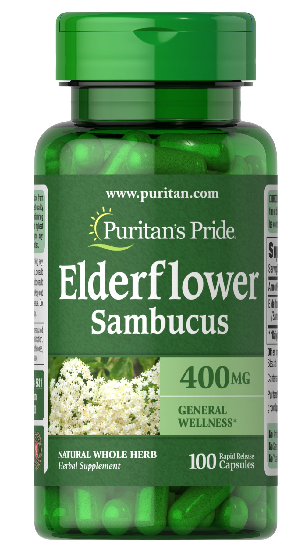Elderberry 400 mg <p>Possesses antioxidant properties to help fight against cell-damaging free radicals in the body**</p><p>Elderberries have a long history of use and are prized for their beneficial flavonoids — phytochemicals that are known for wellness**</p><p>Rapid Release capsules disperse the active ingredients quickly into your body for fast absorption</p><p>Capsules may also be opened and prepared as a tea</p> 100 Capsules 400 mg $9.99