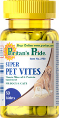 Super Pet Vites <p>Veterinary Approved Formula</p><p>Every dog and cat comes running for this vitamin because it contains (1/2 gram) of liver per tablet.  This potent natural supplement provides your pet with all the nutritional elements needed to stay active, alert and vigorous.  Many leading veterinarians recommend this formula to their clients.  Try it for your dog or cat.</p><br><br><b>This item cannot ship to Illinois</b> 50 Tablets  $5.99