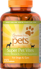 Super Pet Vites <p>Veterinary Approved Formula</p><p>Every dog and cat comes running for this vitamin because it contains (1/2 gram) of liver per tablet.  This potent natural supplement provides your pet with all the nutritional elements needed to stay active, alert and vigorous.  Many leading veterinarians recommend this formula to their clients.  Try it for your dog or cat.</p><br><br><b>This item cannot ship to Illinois</b> 200 Tablets  $19.59