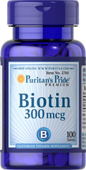 Biotin 300 mcg <p>Supports Carbohydrate, Protein and Fat Metabolism**</p><p>Found in foods such as oatmeal and soy, Biotin, a water soluble B vitamin, assists in energy metabolism in cells.** Biotin is essential for the intermediate metabolism of carbohydrates, proteins and fats.** In addition, Biotin helps to support healthy skin and hair.**</p> 100 Tablets 300 mcg $5.69