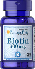 Biotin 300 mcg <p>Supports Carbohydrate, Protein and Fat Metabolism**</p><p>Found in foods such as oatmeal and soy, Biotin, a water soluble B vitamin, assists in energy metabolism in cells.** Biotin is essential for the intermediate metabolism of carbohydrates, proteins and fats.** In addition, Biotin helps to support healthy skin and hair.**</p> 250 Tablets 300 mcg $13.49