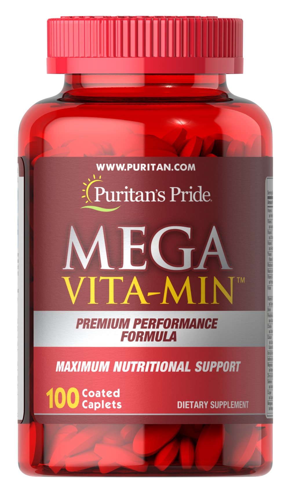 Mega Vita-Min™ Multivitamin <p>MEGA VITA-MIN™ takes the guesswork out of essential vitamin and mineral nutrition, with many active ingredients, including B Vitamins for energy metabolism, and an array of immune and antioxidant support vitamins such as C and E.**</p> 100 Caplets  $26.99