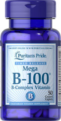 Vitamin B-100® Complex Timed Release <p>Each nutrient in the Vitamin B-100® Complex performs a unique role in maintaining proper metabolic functioning and is essential for well being.** When taken together in a complex formula, the B Vitamins help to maintain the health of the nervous system, skin, eyes and hair.** This product is specially formulated to provide a gradual release of vitamins over a prolonged period of time.</p>  50 Caplets 100 mg $18.99