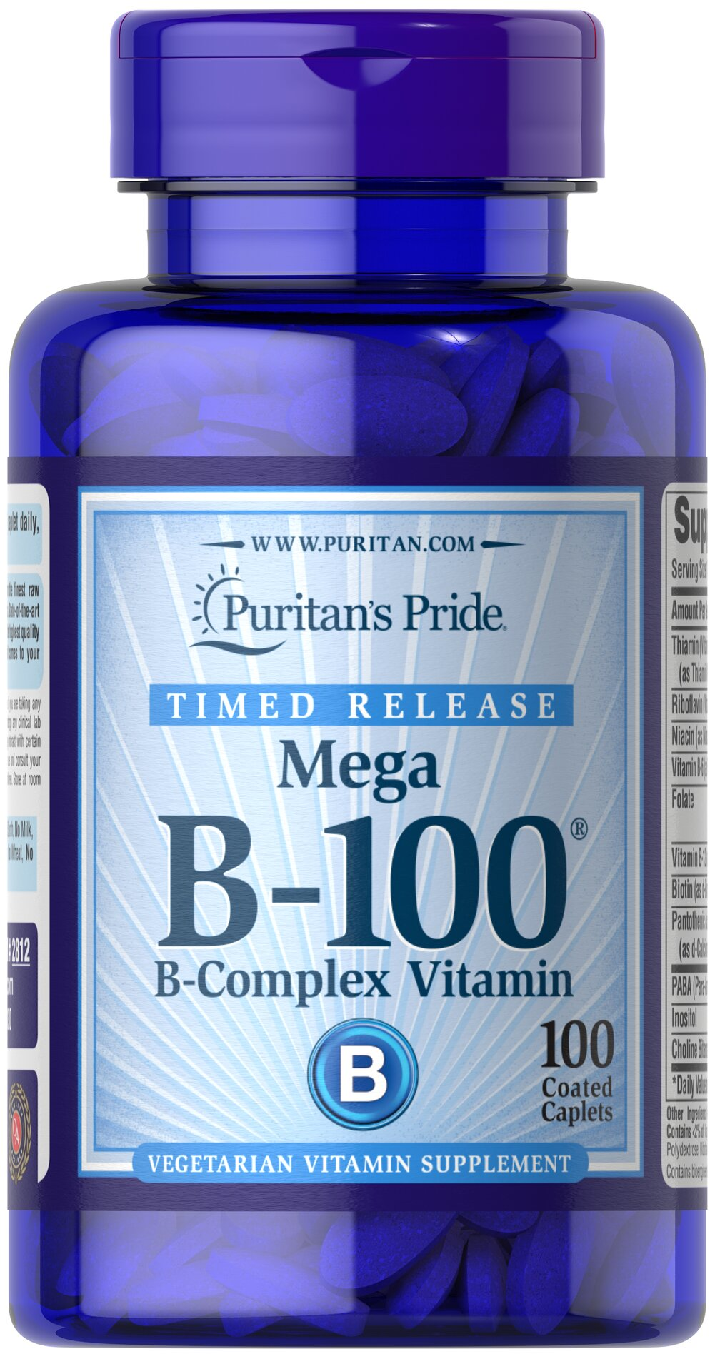 Vitamin B-100® Complex Timed Release <p>Each nutrient in the Vitamin B-100® Complex performs a unique role in maintaining proper metabolic functioning and is essential for well being.** When taken together in a complex formula, the B Vitamins help to maintain the health of the nervous system, skin, eyes and hair.** This product is specially formulated to provide a gradual release of vitamins over a prolonged period of time.</p>  100 Caplets 100 mg $33.99