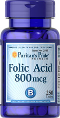 Folic Acid 800 mcg <p>It's well known that Folic Acid is important for pregnant women, but did you also know that this essential B Vitamin also supports cardiovascular health in women and men?** Folic Acid is part of a triad of B Vitamins - along with Vitamins B-6 and B-12 - that helps promote heart health.**</p> 250 Tablets 800 mcg $6.99