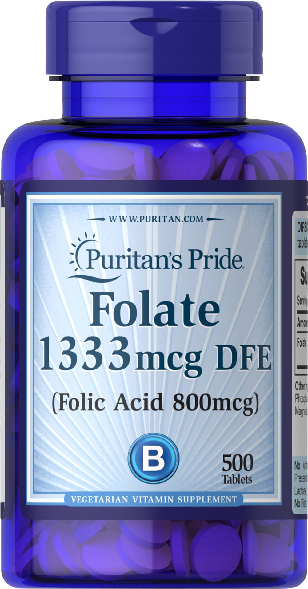 Folic Acid 800 mcg  500 Tablets 800 mcg