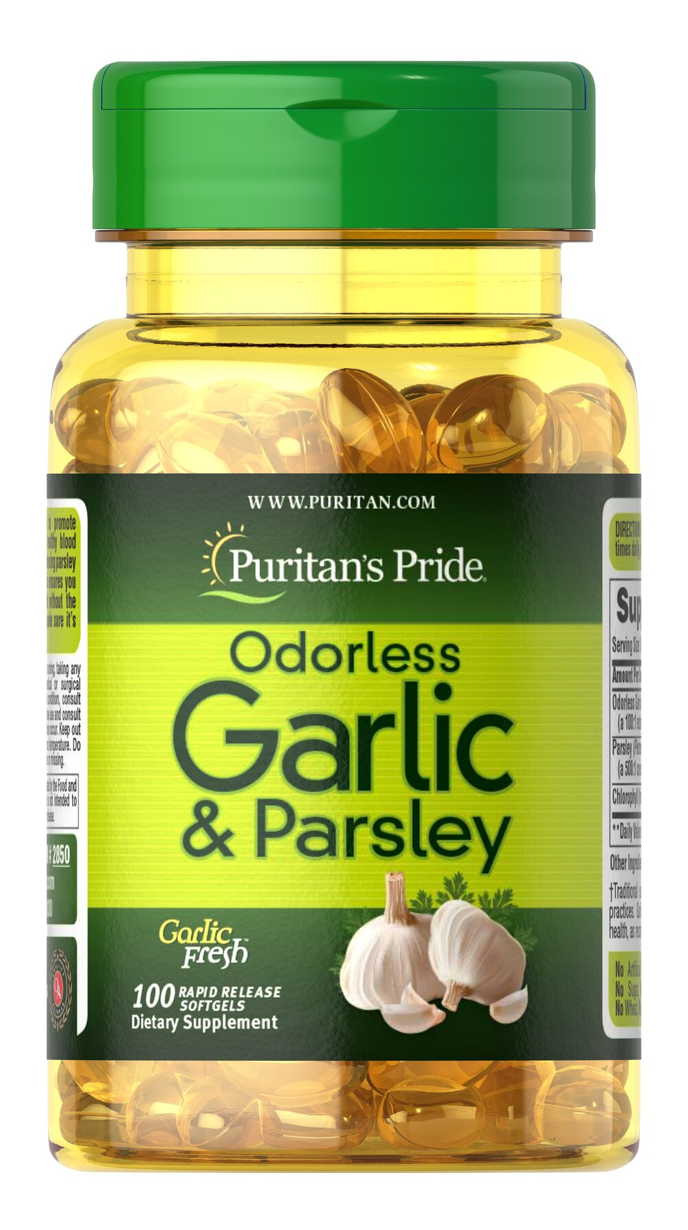 Odorless Garlic & Parsley 500 mg / 100 mg <p>Promotes heart and cardiovascular function**</p><p>Provides cholesterol support**</p><p>Possesses beneficial antioxidant properties**</p><p>Traditionally used for respiratory health**</p><p>Contains breath-freshening Parsley and the plant nutrient Chlorophyll</p><p>These easy-to-swallow softgels are a great way to reap the natural benefits that Garlic has to offer without experienci