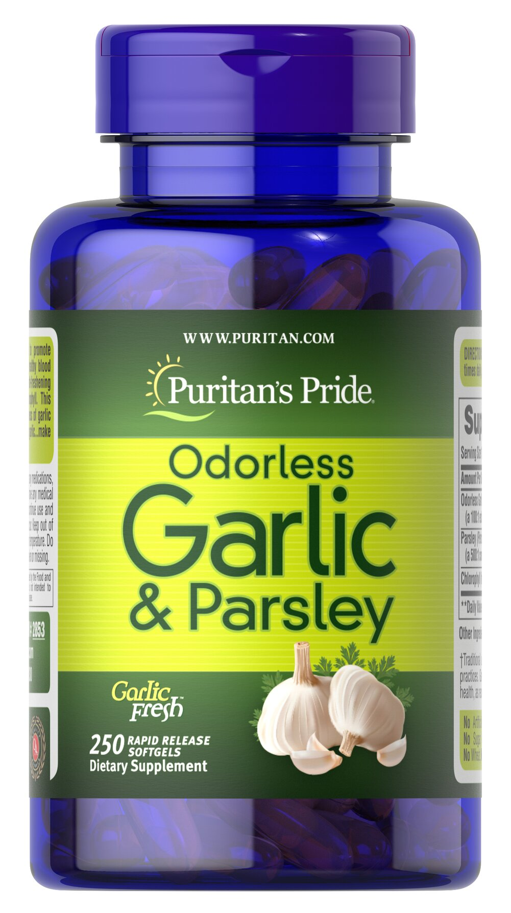 Odorless Garlic & Parsley 500 mg / 100 mg  250 Rapid Release Softgels 500 mg $19.99