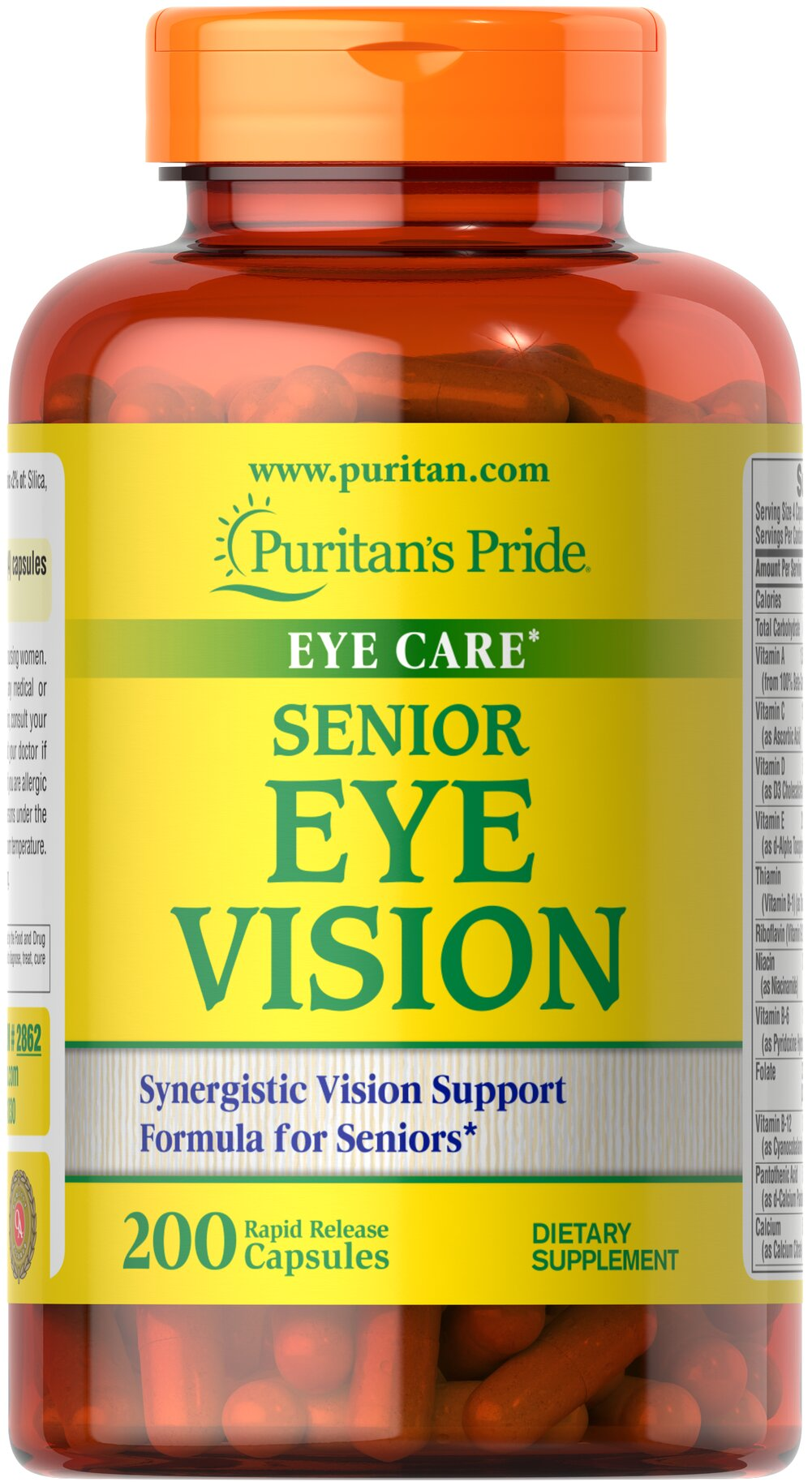 Senior Eye Vision <p>Gives you the nutritional support you need for healthy eyes**</p><p>Features Lutigold™ Lutein, a pure, natural form of Lutein that is non-genetically modified</p><p>Lutigold™ Lutein supports clear, healthy vision**</p><p>Includes a full range of vitamins for antioxidant support, including eye-healthy Vitamin A**</p><p>Contains more than 20 vitamins, minerals, herbs and amino acids</p>   200 Capsules