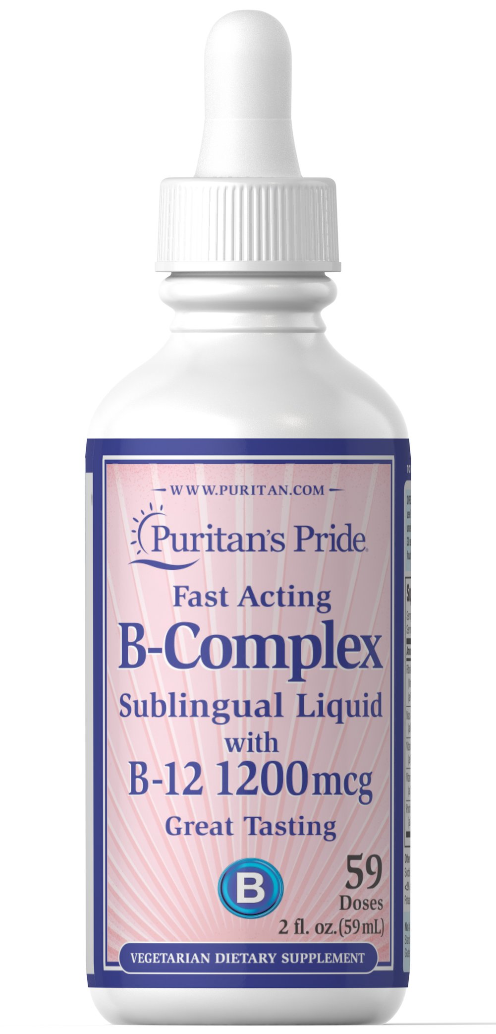 Vitamin B-Complex Sublingual Liquid with Vitamin B-12 <p>This Vitamin B-Complex Sublingual Liquid with Vitamin B-12 provides an excellent source of B-Complex vitamins to help safeguard a sufficient daily intake. The B-Complex is essential for the maintenance of healthy nervous tissue.** The B Vitamins play a role in energy metabolism in the body.** There are 59 doses per 2 fl. oz.</p> 2 fl oz Liquid  $6.99