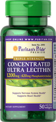 Concentrated Ultra Lecithin 1200 mg <p>Promotes healthy brain function**</p><p>Assists with cardiovascular health**</p><p>Contributes to a healthy nervous system**</p><p>Our highest potency Lecithin product to date++</p><p>One softgel provides you with a whopping 420 mg of naturally sourced Phosphatidylcholine, a vital part of the B Vitamin Complex.**</p> 50 Softgels 1200 mg $5.99